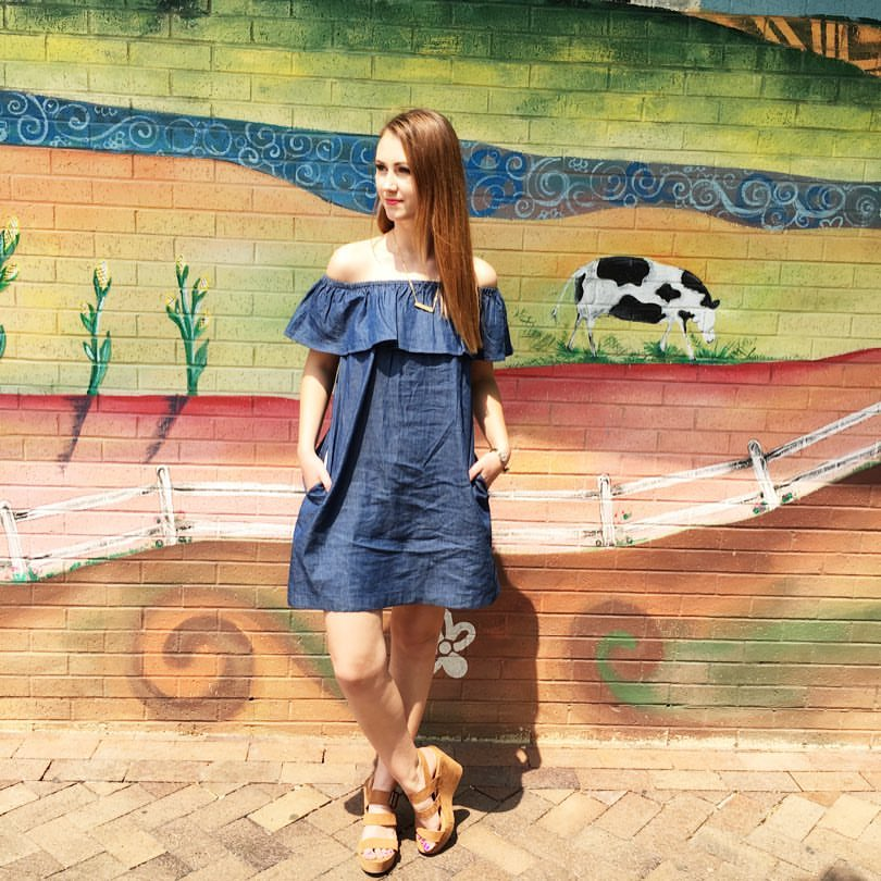 chambray off the shoulder dress, suede wedges, downtown Iowa City