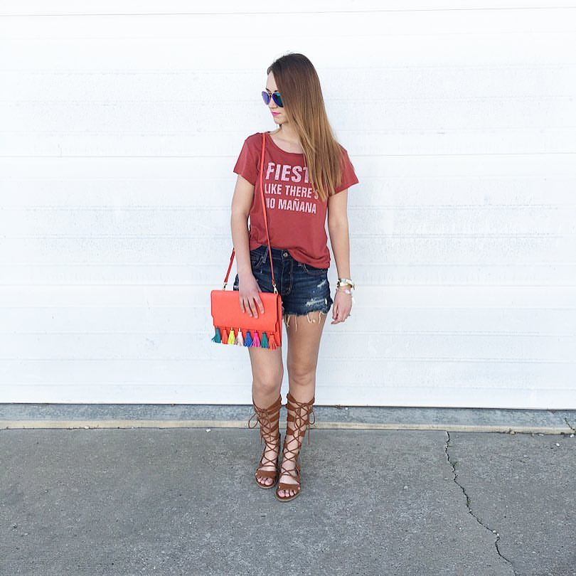 Cinco De Mayo, fiesta tee, tassel bag, gladiator sandals