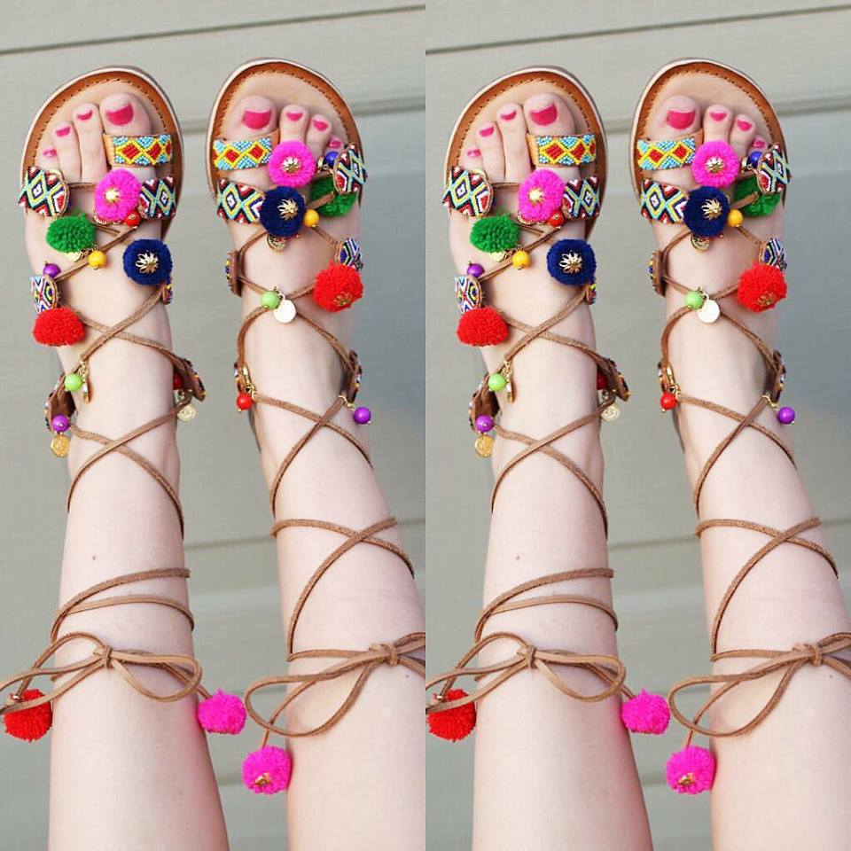 Chinese Laundry sandals, lace up sandals, pom pom sandals, summer sandals