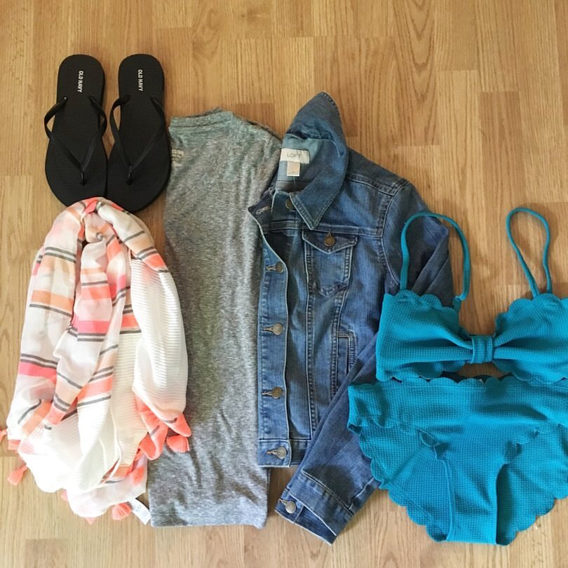 Old Navy, scallop swimsuit, tassel scarf, denim jacket, memorial day finds, sale