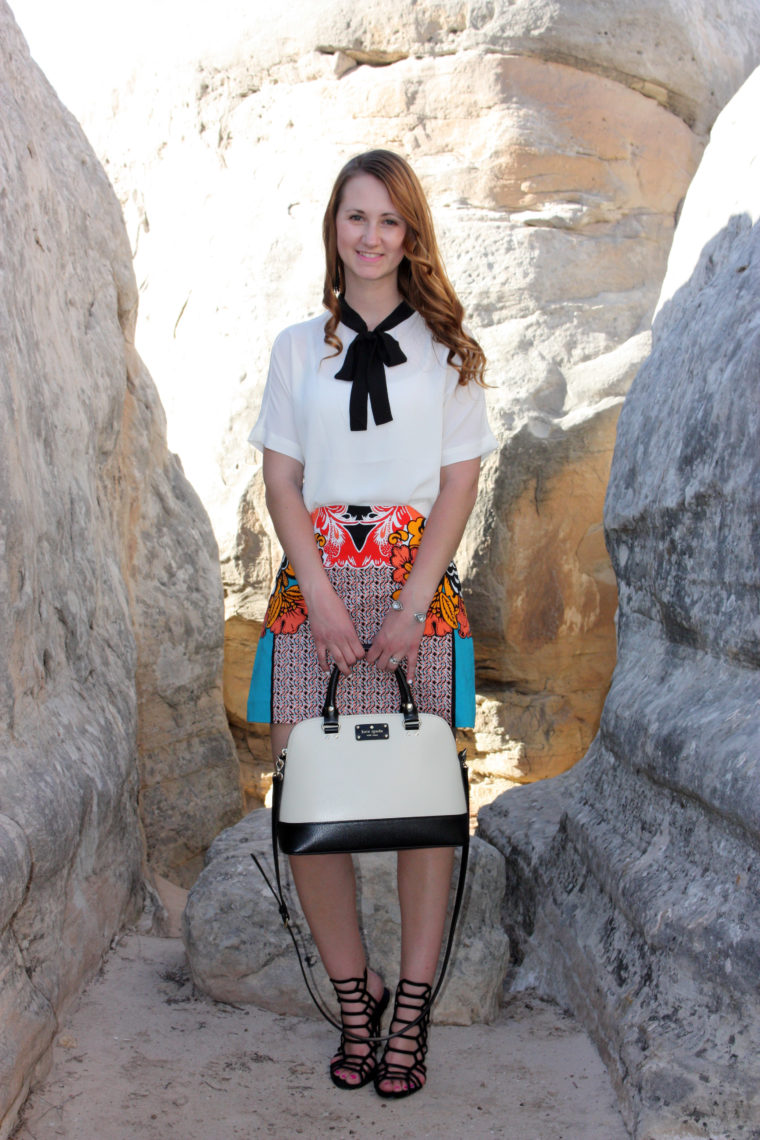office outfit, Express blouse, Kate Spade bag