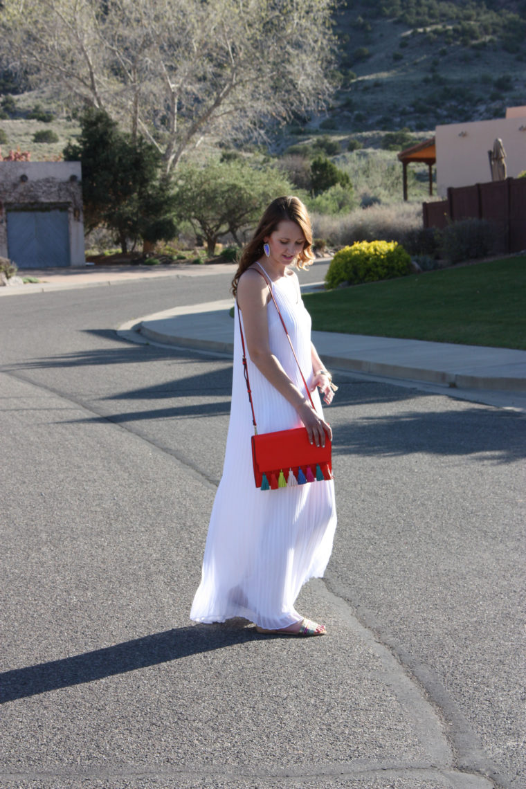 pleated dress, Target sandals, tassel bag, Grand Junction, Colorado