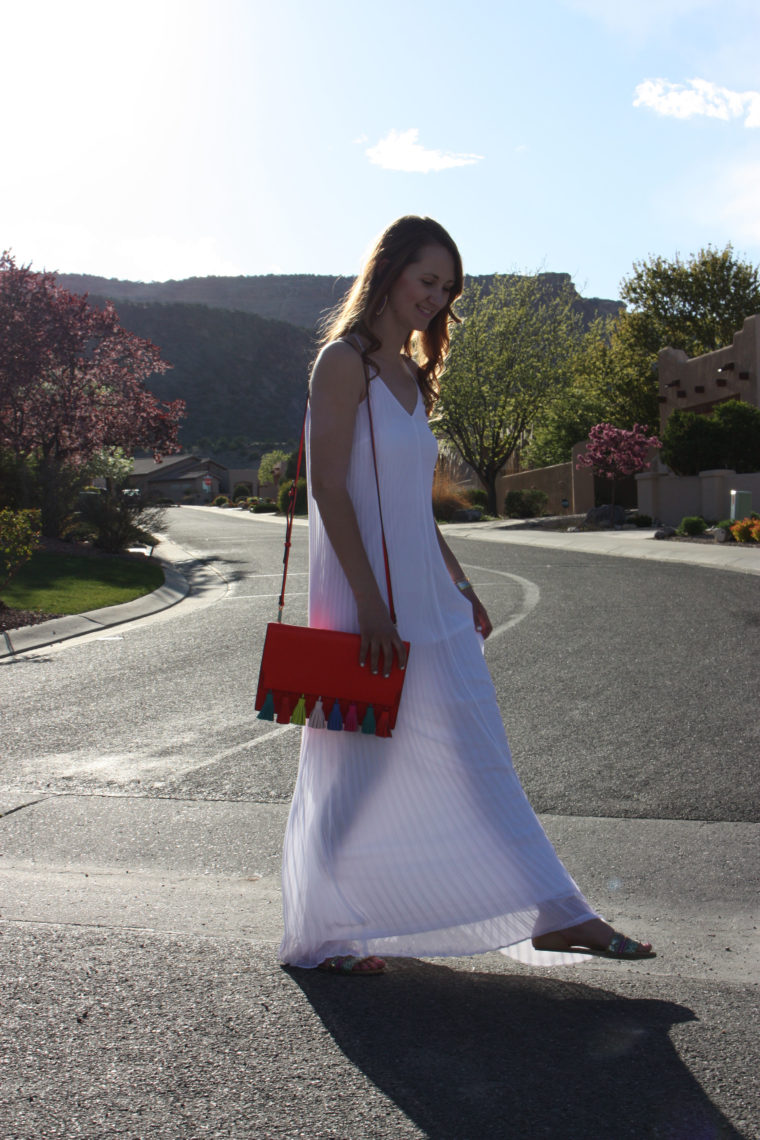 tassel bag, pleated maxi dress, Grand Junction, Colorado