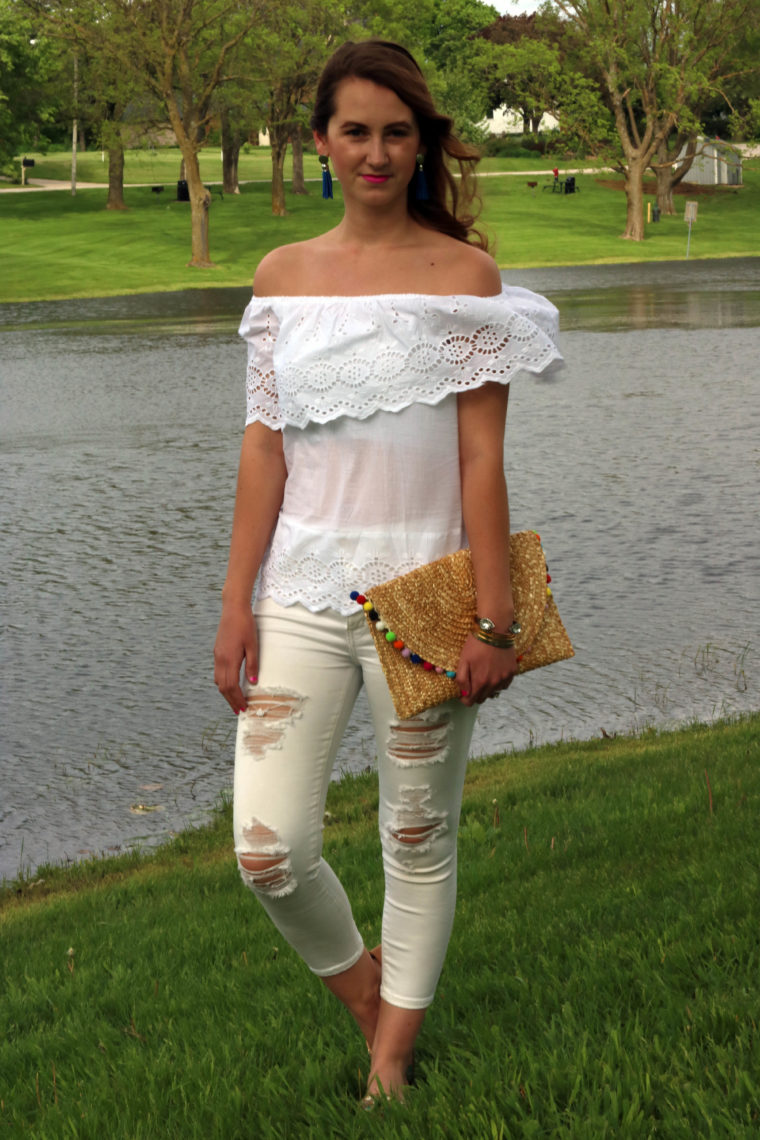Francescas, eyelet off the shoulder top, white on white