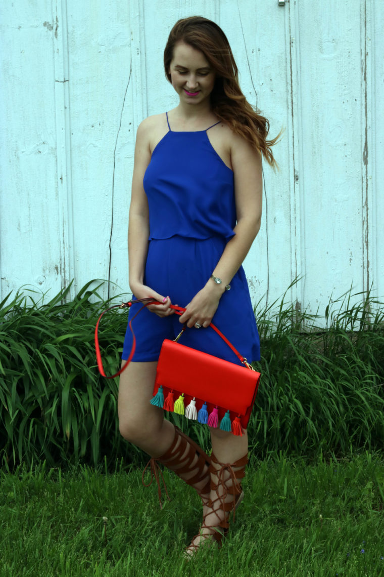Rebecca Minkoff tassel bag, royal blue romper, tassels
