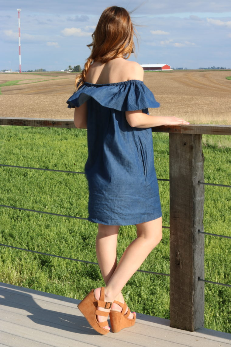 Target suede wedges, off the shoulder dress, chambray dress