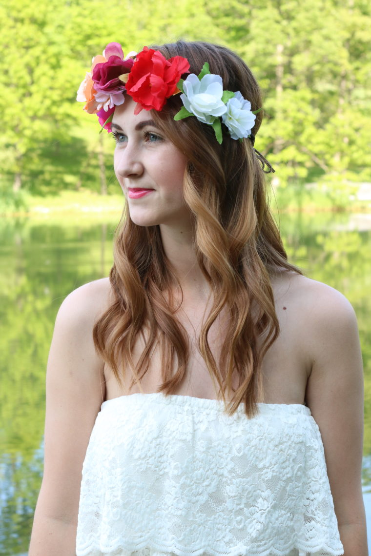 floral headband, Headbands of Hope, white lace dress, spring look, nature, free spirit