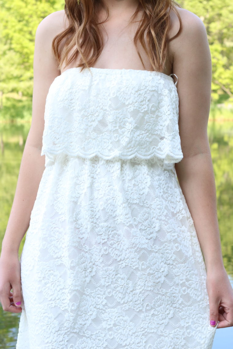 Express white lace dress, spring, nature, pond, dock