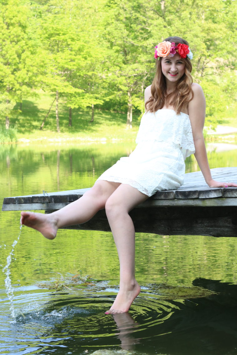 Express white lace dress, floral headband, Headbands of Hope. nature, pond, free spirit, for a good cause