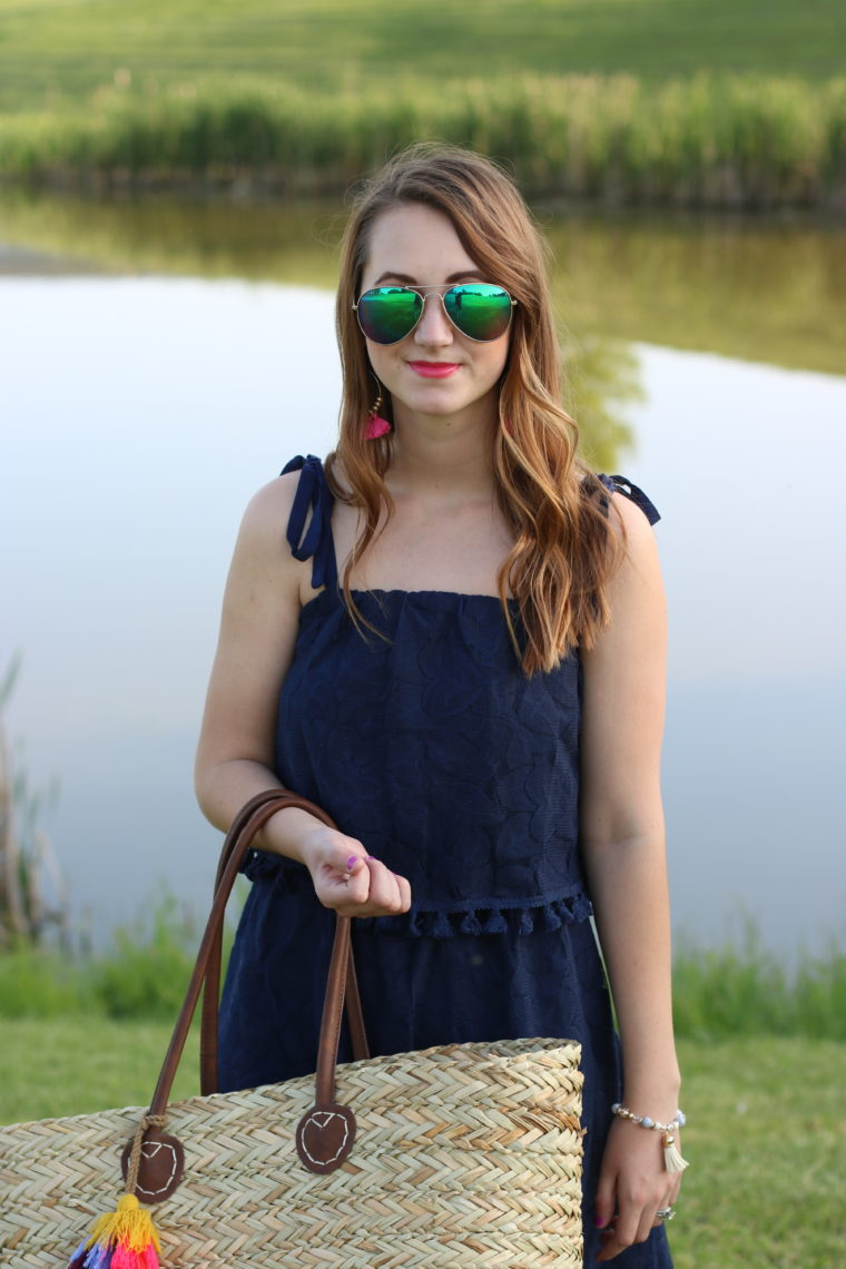 Target tassel beach tote, navy blue pom pom dress, tassel earrings, beach look