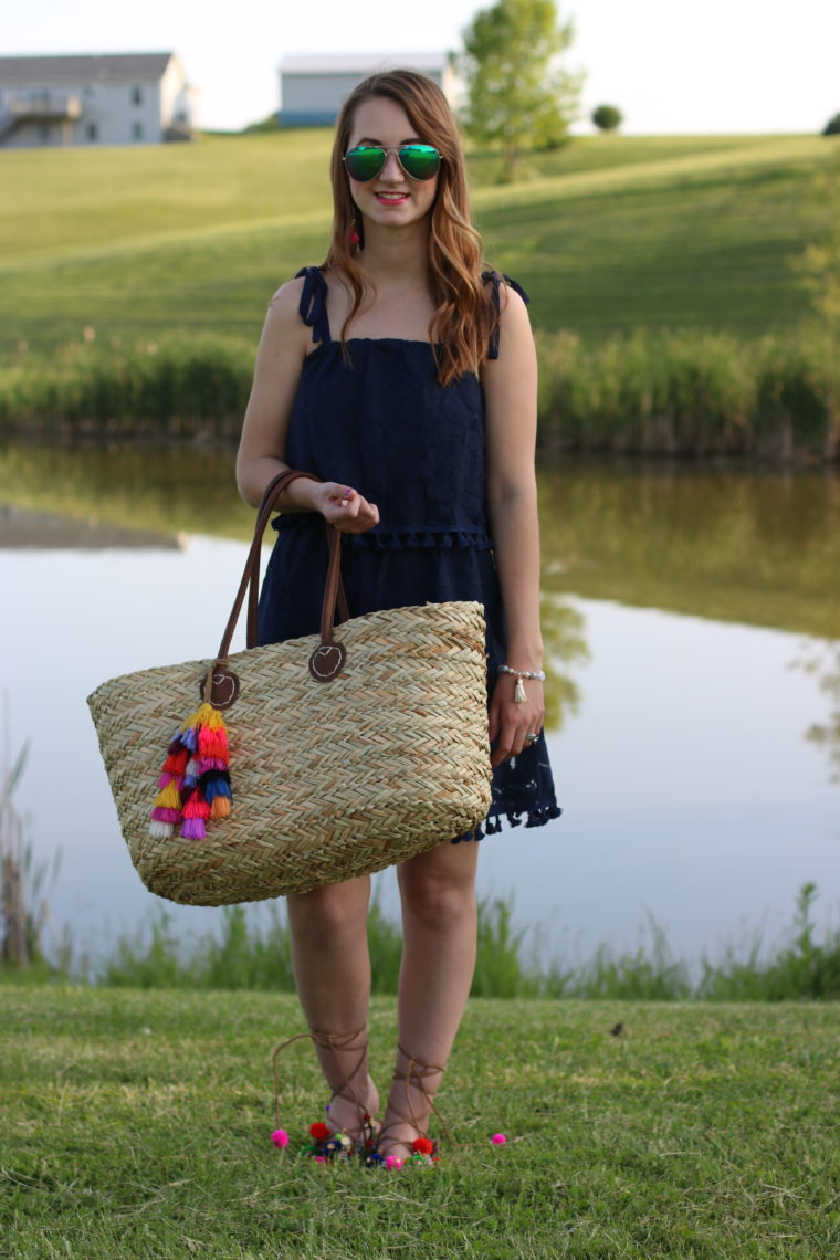 Target navy blue dress, straw beach tote, tassels