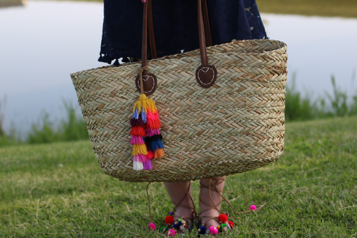 Target tassel straw tote, Chinese Laundry pom pom sandals, beach look