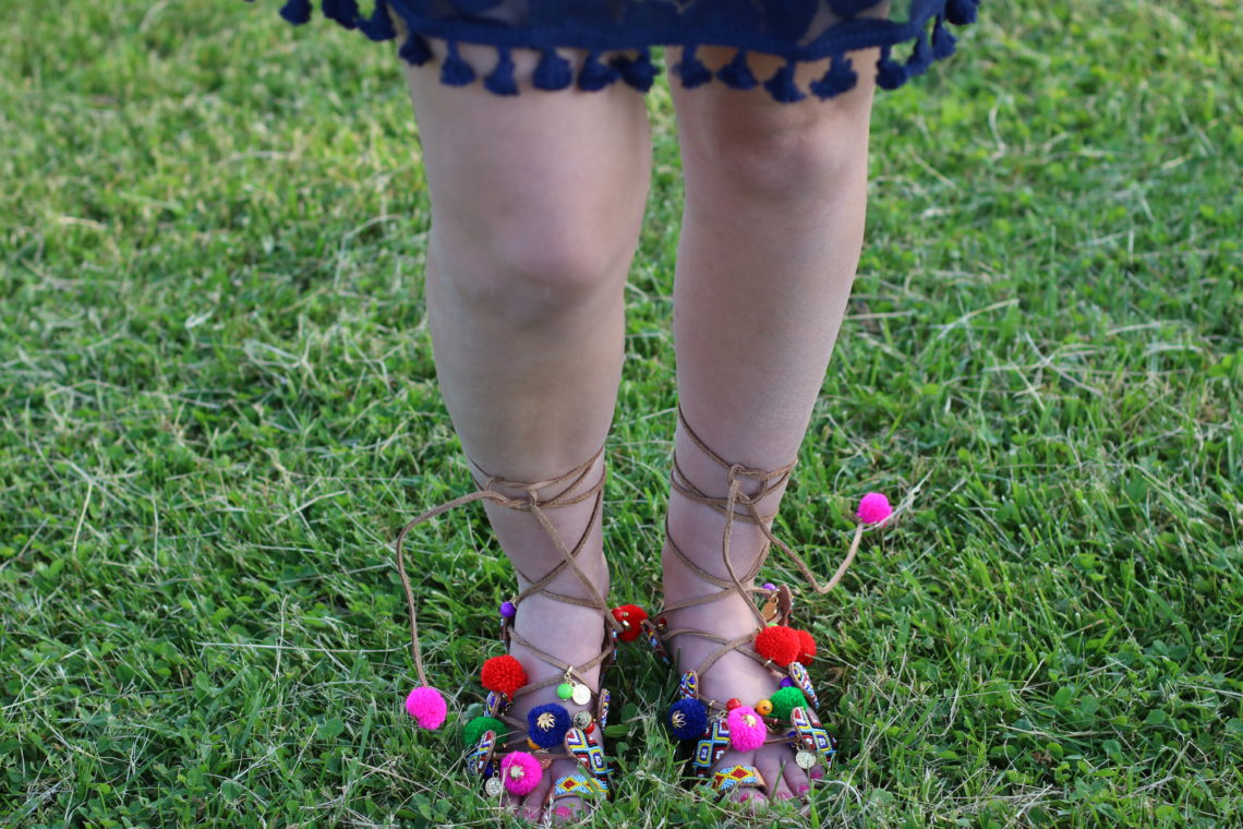 Chinese Laundry lace up pom pom sandals, Nordstrom sandals