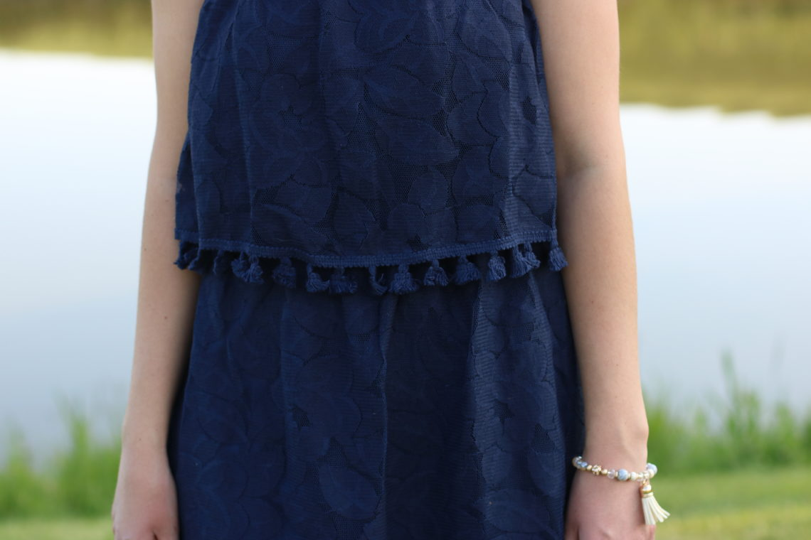 Target, navy blue pom pom dress,