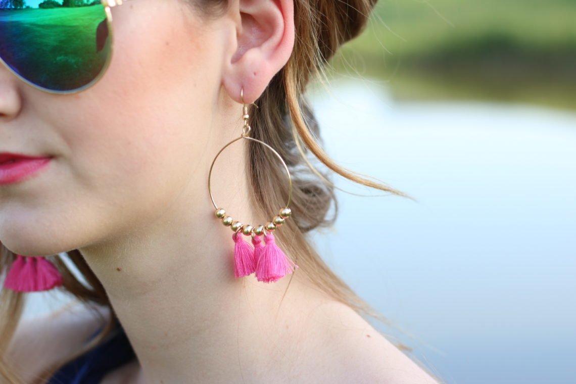 Old Navy pink tassel earrings, tassels