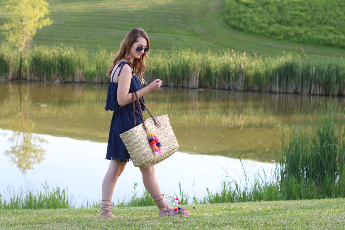 beach babe, summer look, Target pom pom dress, tassel straw tote, mid west blogger
