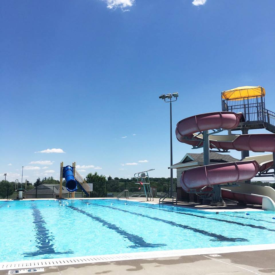 sunny day, pool day, Monday, Williamsburg Aquatic Center, Summer, blue slide, red slive, diving board, blue sky, Iowa