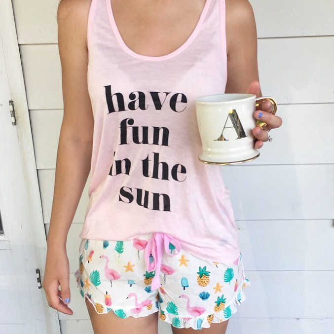 Forever 21 pajamas, pineapple pajamas, summer pjs, flamingos, pineapples, have fun in the sun, monogram mug, Anthropologie mug