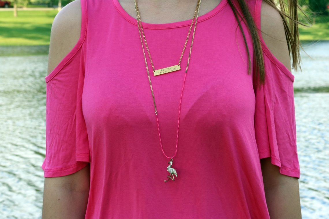 bar necklace, flamingo necklace, pink dress