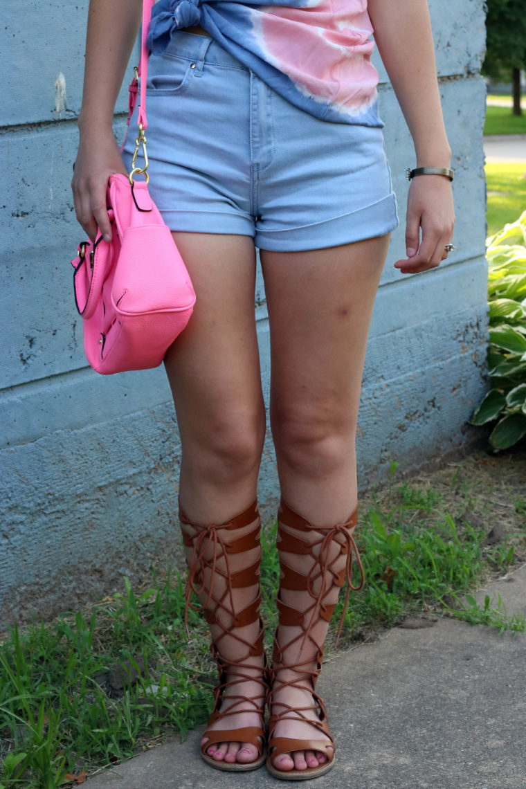 Target gladiators, pink bag, Forever 21 high waist shorts