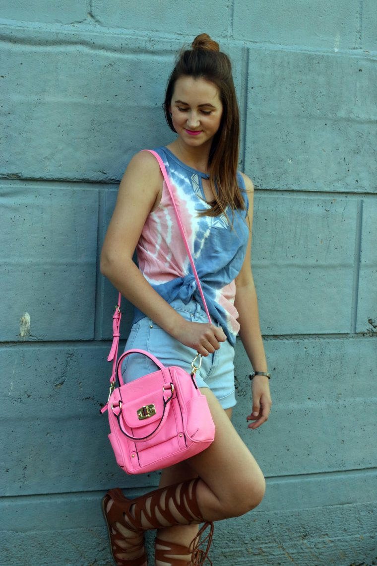 Target pink bag, tresemme, tie dye top, high waist shorts