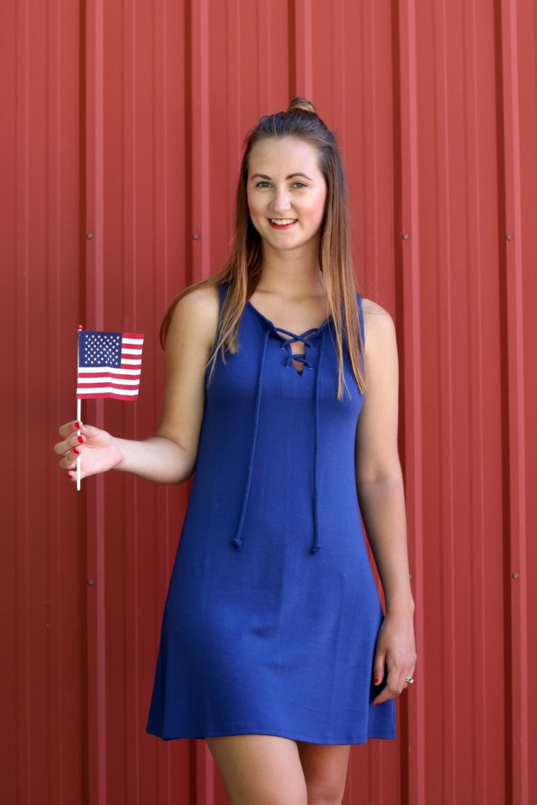 American flag, blue lace up dress, 4th of July outfit, red lipstick