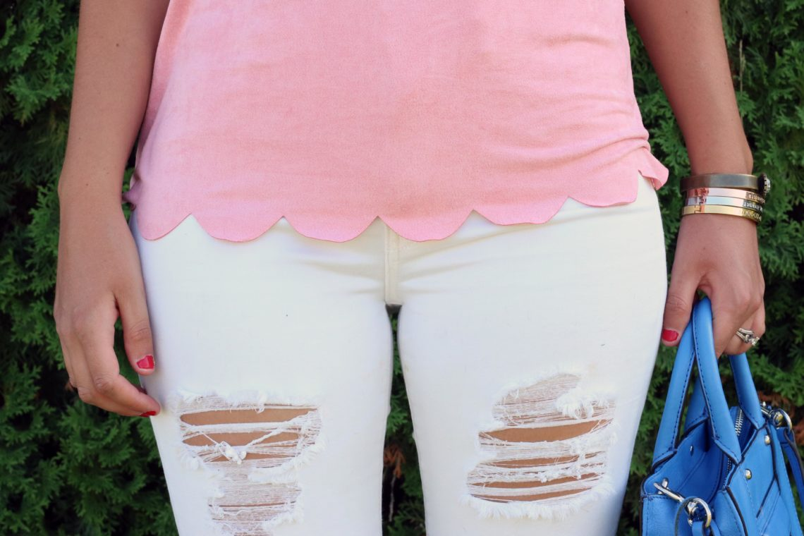 distressed denim, Dry Goods, scalloped shirt, pink top, scallops