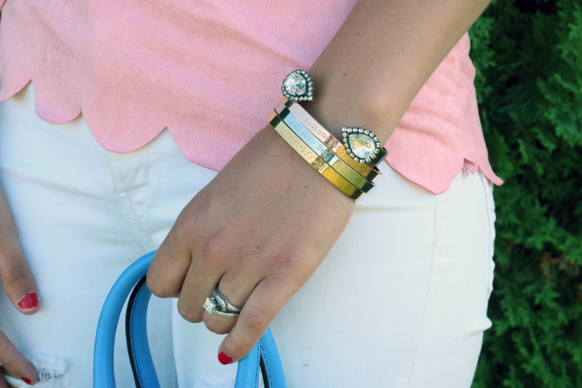 Taudrey Jewelry, Fashionista's Diary bracelet set, Loren Hope cuff, diamond ring, pink scallops