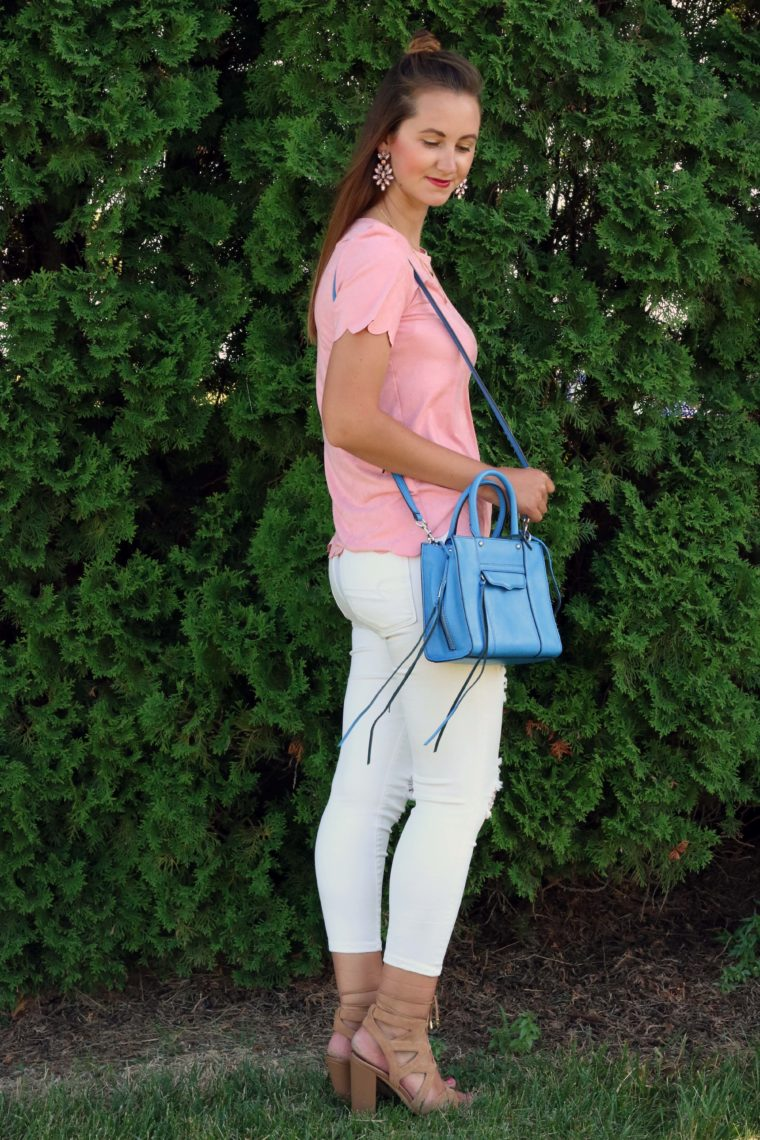 Sam Edelman, lace up sandals, girly outfit, pink scalloped shirt, blue tote