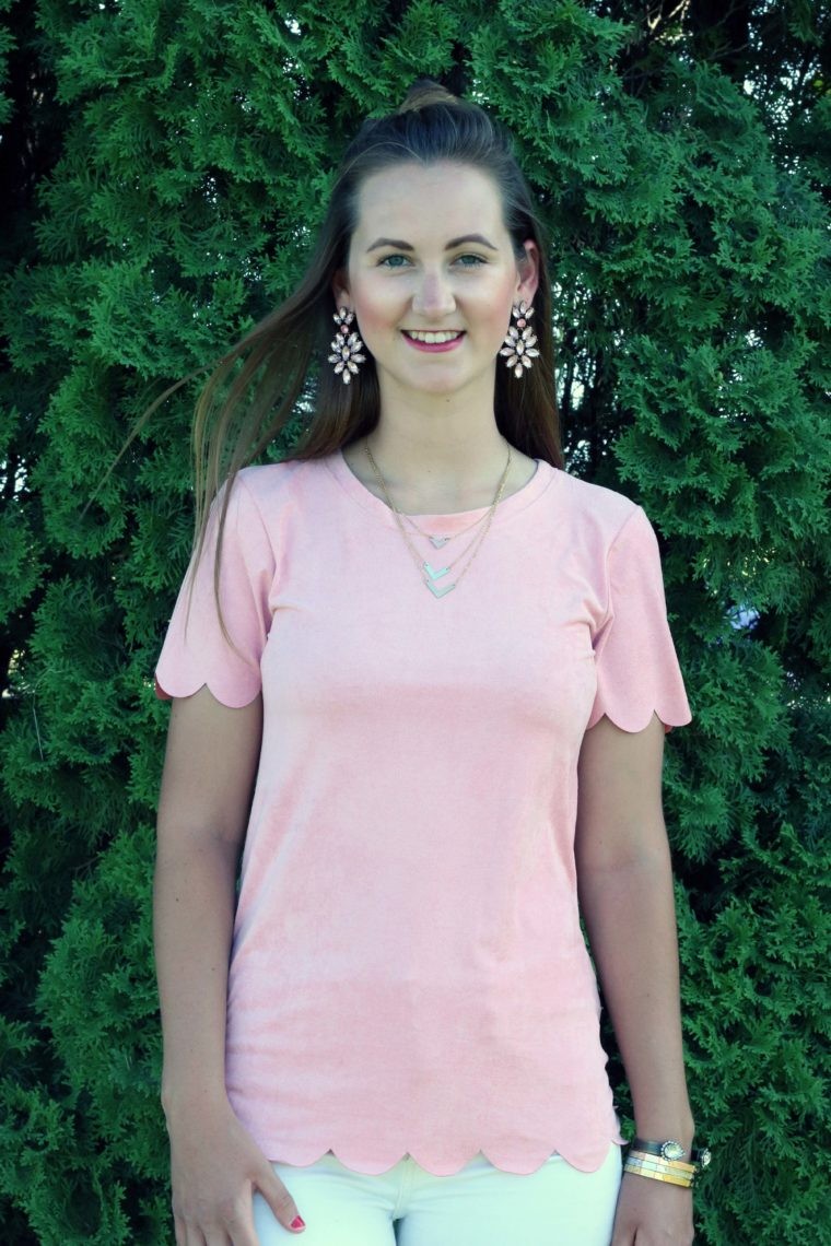 Happiness Boutique earrings, statement earrings, pink scalloped top, top knot, pink outfit