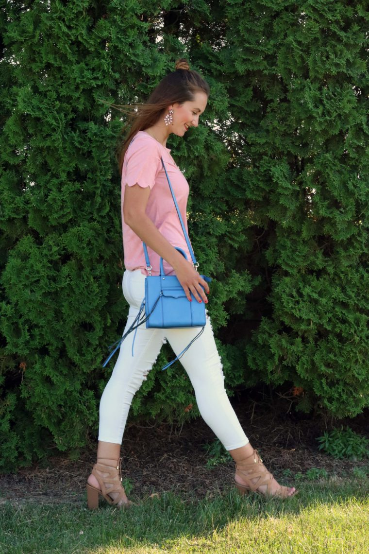 lace up sandals, pink look, scalloped top, blue tote, distressed denim