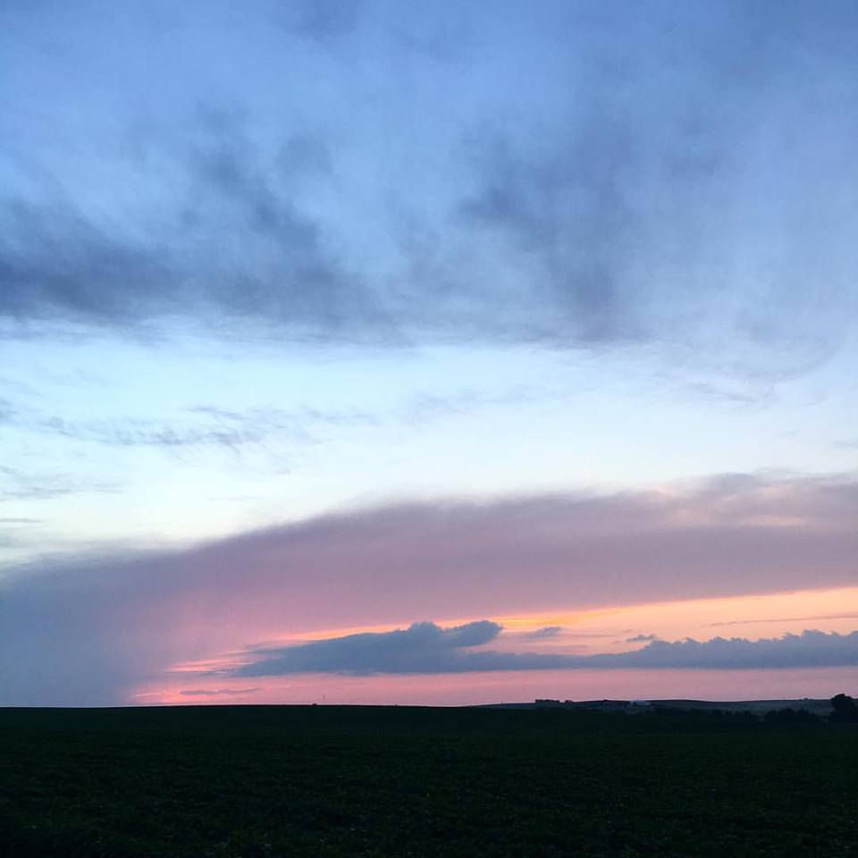 chasing the clouds, cotton candy skies, blue and pink clouds, summer sunset, Iowa sunsets