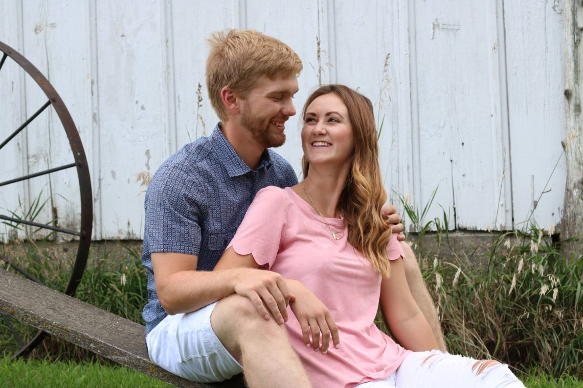 Our 2nd wedding anniversary, anniversary photos, July 26, scalloped top, button down shirt