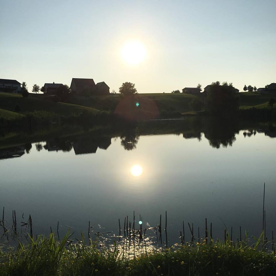 pond, sunset, Iowa sunsets, country
