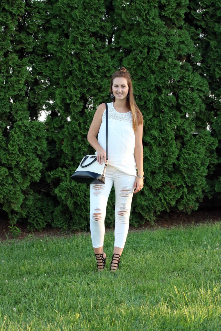 white on white, Kate Spade bag, black and white
