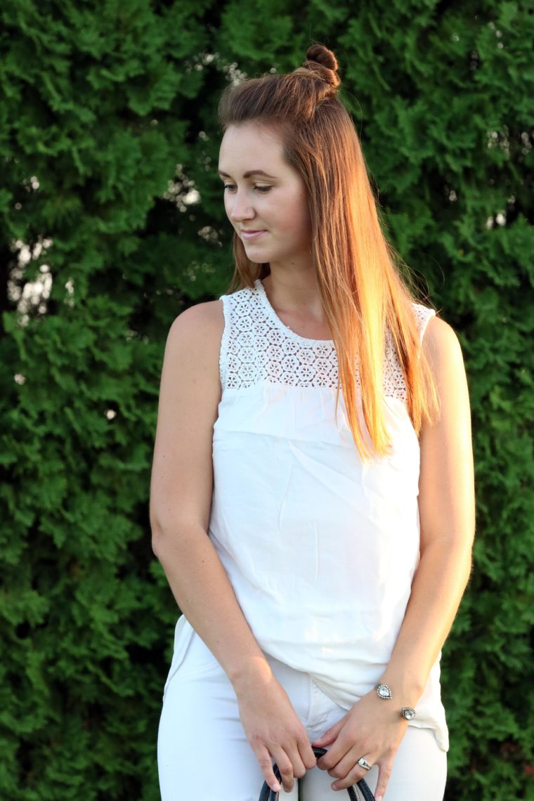 Old Navy top, eyelet tank, white outfit, straight hair