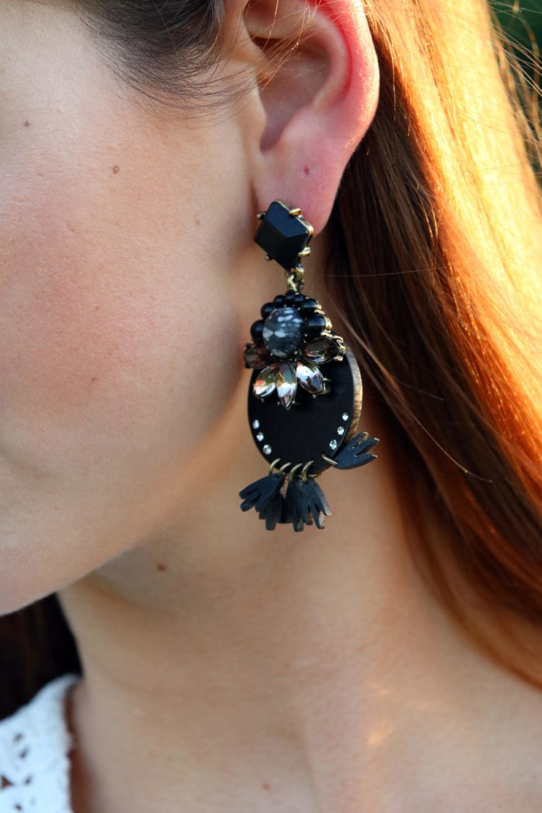 black earrings, statement earrings, Buablebar earrings
