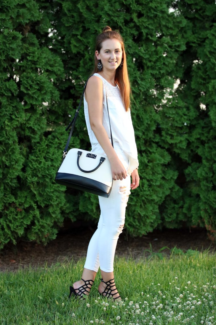 black and white outfit, Kate Spade bag, Steve Madden heels