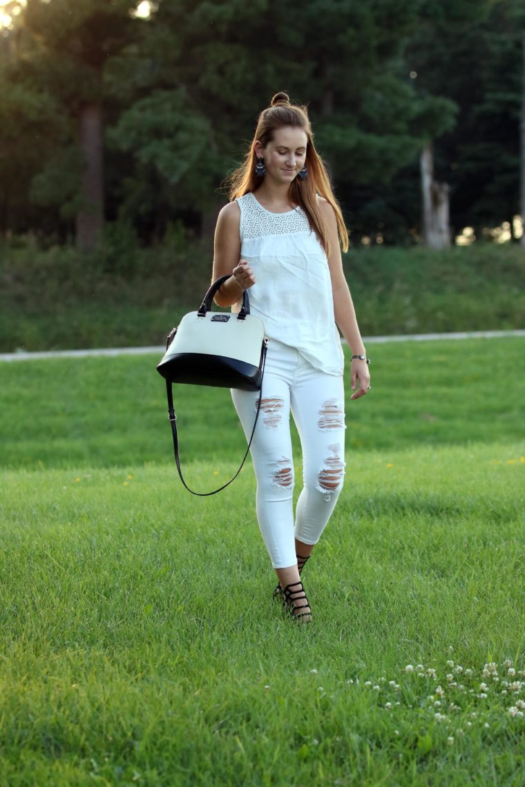 white on white, black and white bag, top knot, Old Navy tank