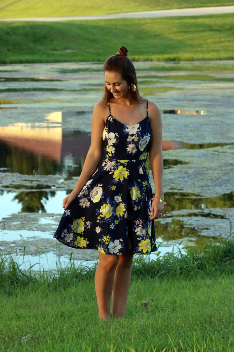 Neon Yellow Floral Dress For The Love Of Glitter