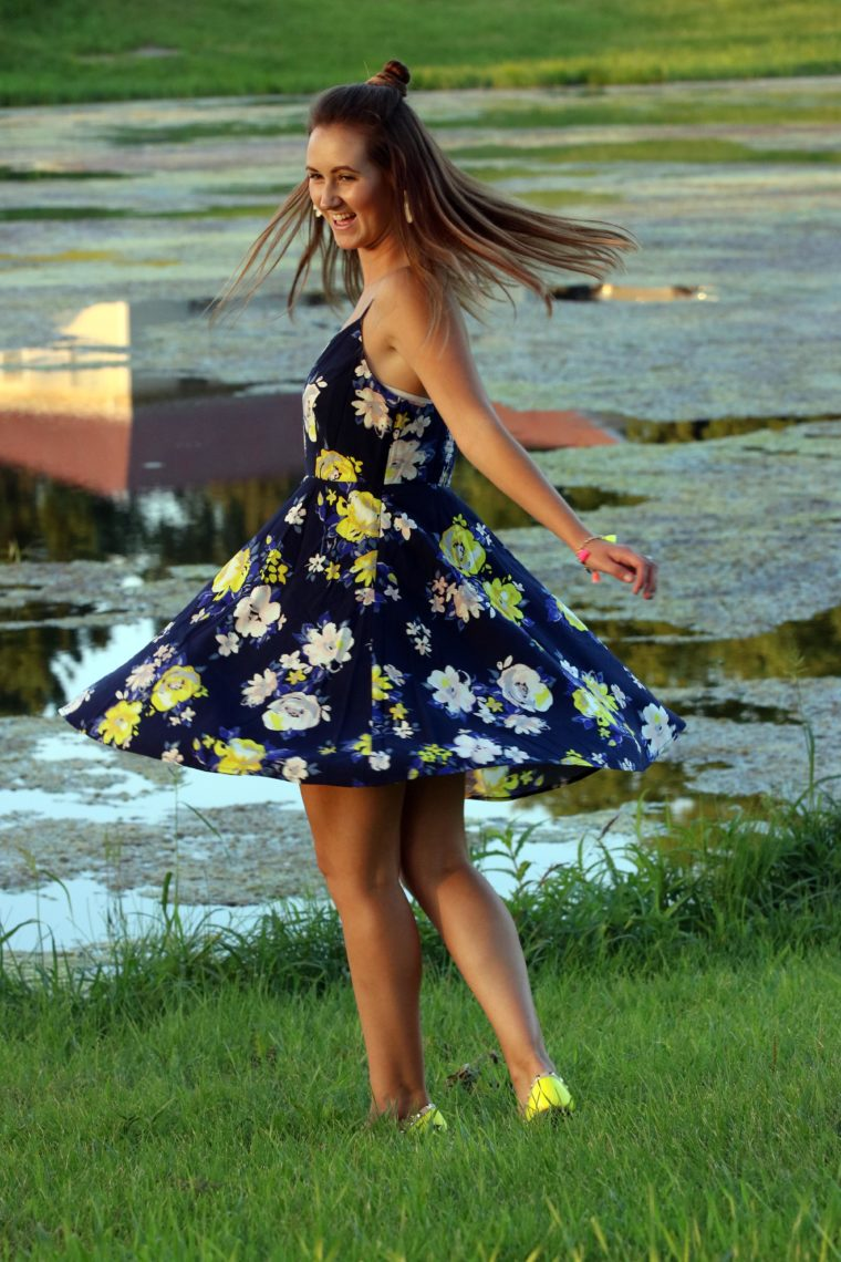 top knot, spinning around, Old Navy dress, cami dress, neon yellow flowers