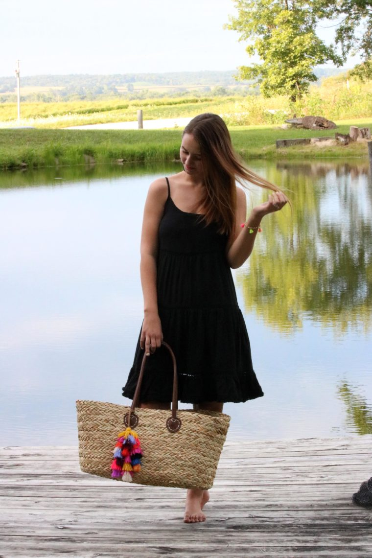 pond, black dress, beach tote, Summer