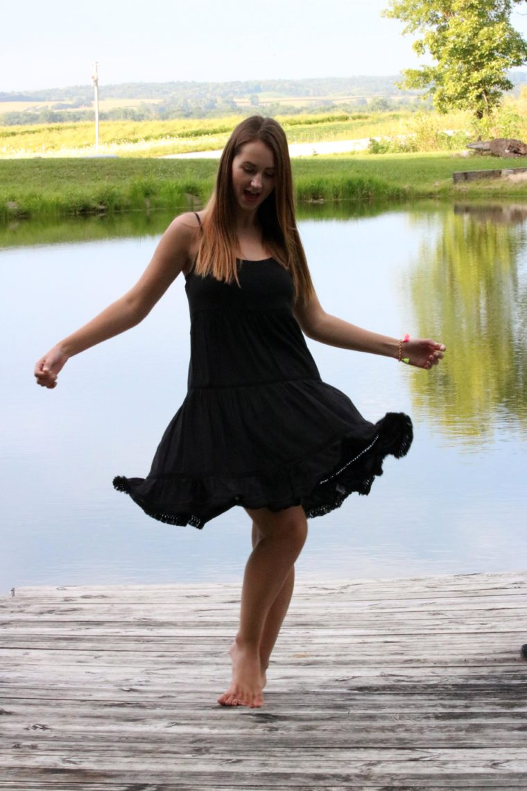 twirling, little black dress, Summer