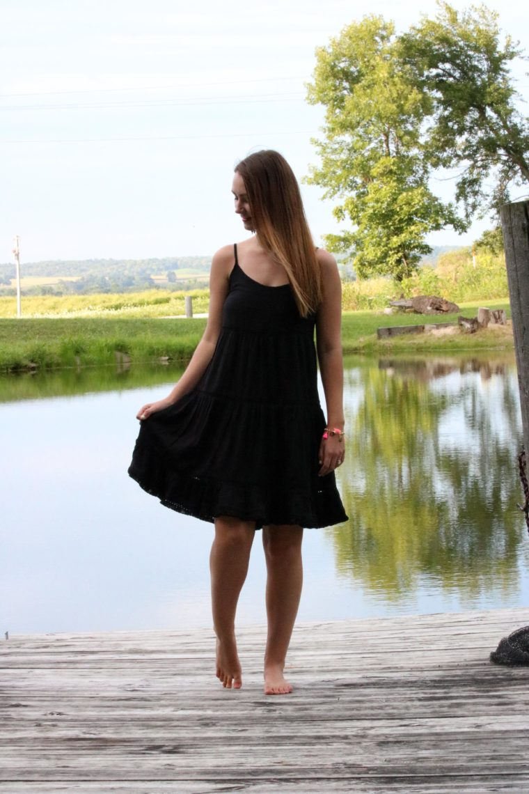 black dress, Target dress, pond, straight hair, Summer
