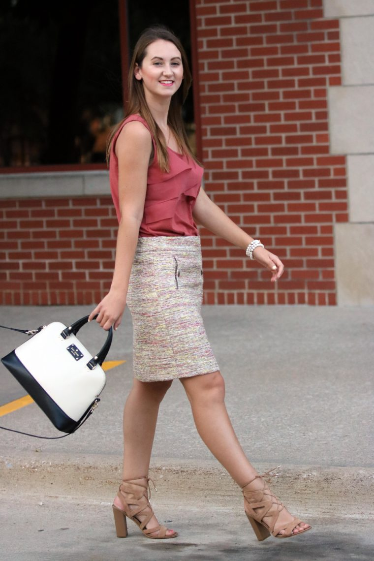 lace up sandals, ruffle top, Kate Spade bag, tweed skirt, business attire