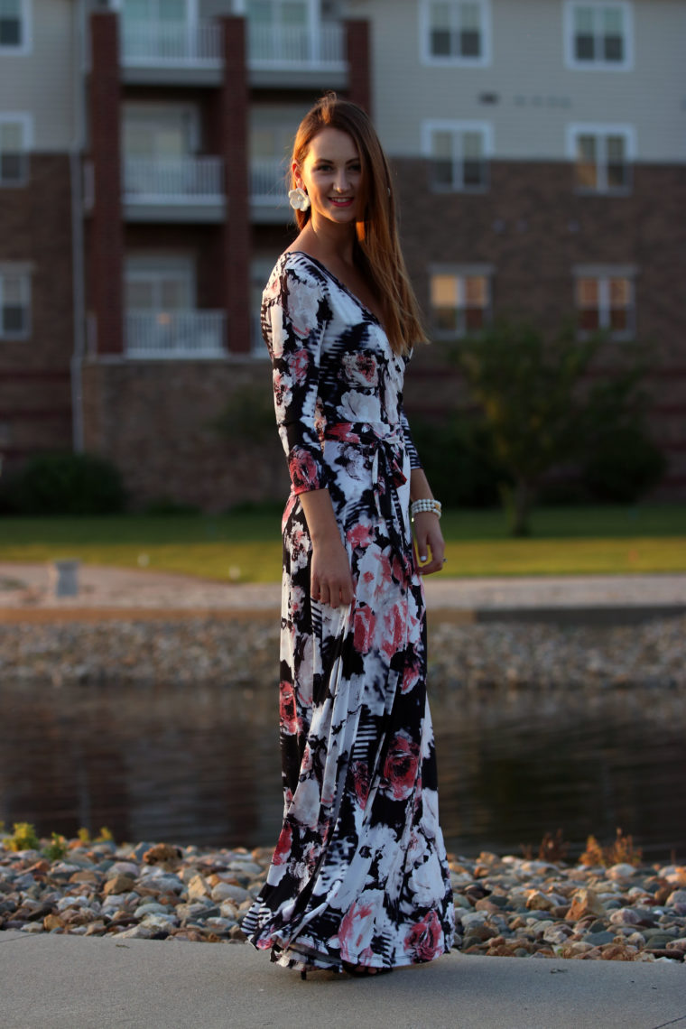 floral maxi dress, long dress, Tara Lynn's Boutique, white floral earrings