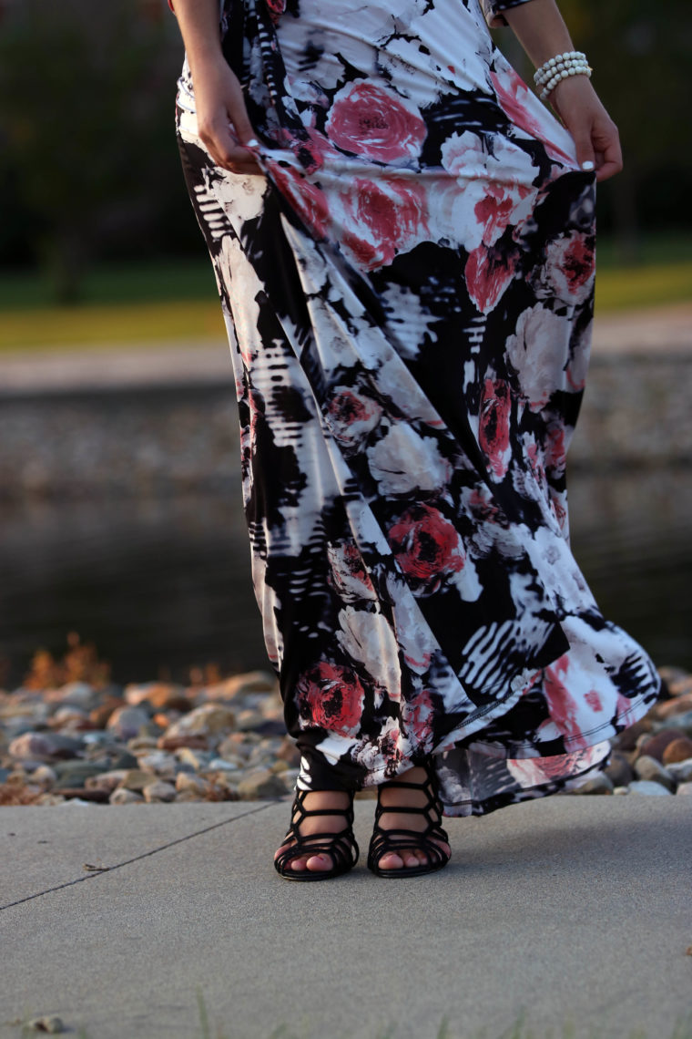 floral dress, Steve Madden heels, black heels