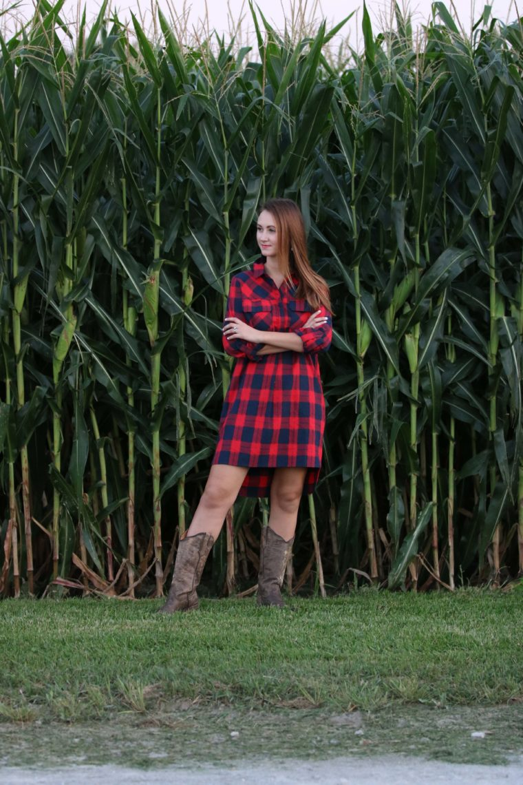 cross boots, gingham dress, country look, Iowa girl