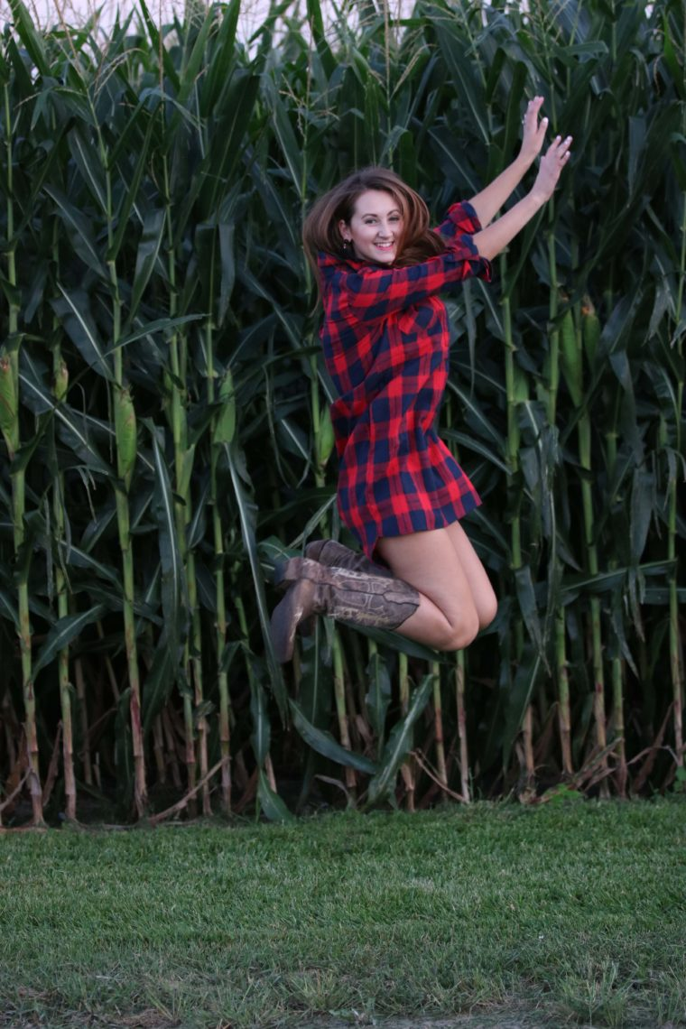 jumping, cowgirl boots, corn, tunic dress