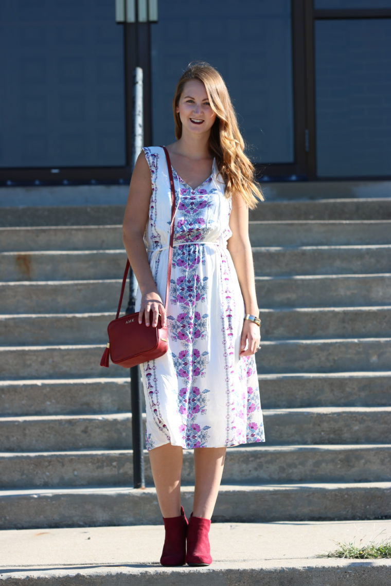 midi dress, tassel bag, maroon, curly hair